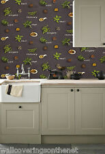 Herbs & Spices Themed, Fully Washable, Cushioned Vinyl Wallpaper