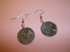 OLD SIXPENCE (TANNER) COIN DROP EAR RINGS -1956 - 60th BIRTHDAY