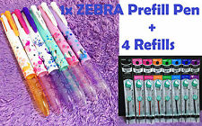 1x 4 Color ZEBRA Prefill Pen + 4 Refills Japan Special Edition Like Coleto Cute