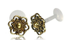 "BRASS MANDALA TRAGUS HELIX 16G 1/4"" inch 6mm INTERNAL BIOPLAST LABRET FLOWER EAR"