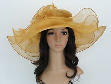 New Church Derby Wedding Sinamay Organza 3 Layers Formal Dress Hat 3068 Mustard