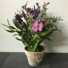 Rustic Potted Pansy Arrangement Artificial Flowers Purple Lilac Home Decor Gift