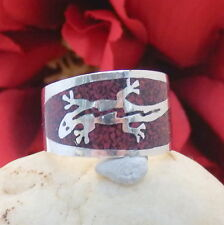 1442.Gecko Ring,Inlay Ring Silberring 835 Silber RG.57 (18,1 mm Ø) toller Ring