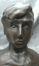 Old vintage handmade original terracotta statue bust boy figure sculpture