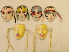 set of 6 Mardi Gras Ceramic Venetian Carnival Wall Mask