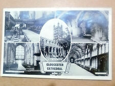 Real Photo Postcard- GLOUCESTER CATHEDRAL: CHOIR,CRYPT,NAVE & W WINDOW Etc+Stamp