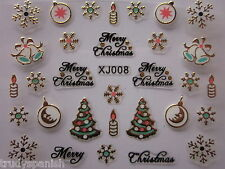 Natale Nail Art Adesivi Decalcomanie ORO FIOCCHI DI NEVE CANDELE SMALTO GEL (xj8g)