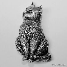 Sitting Cat Pewter Brooch Pin - British Artisan Signed - Kitten Cat Gift Present