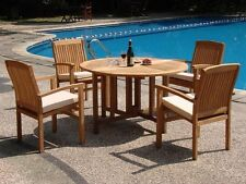 5 PC STACKING TEAK SET OUTDOOR PATIO FURNITURE GARDEN DINING DECK POOL - WAVE