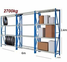 2.4M WAREHOUSE METAL SHELVING WORKBENCH SHOP SHED RACKING SYSTEM2700kg-C9BGx3
