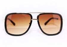 Men's Sunglasses Aviator's Fashion Classic Vintage Designer Gold Bar Brown Frame