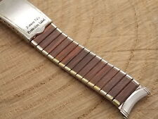 Vintage Kreisler Brown and Stainless Steel deployment watch band 19mm 3/4""