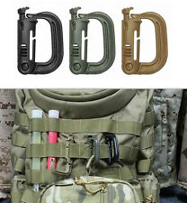 1PC Tactical Safety Buckle MOLLE Locking D-ring Carabiner Hook Clip CAMG1