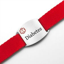 Diabetes Red Sport Strap Medical ID Bracelet Adjustable 4 - 8 Inches - AA1350