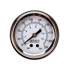 """VIAIR 90089 Lighted Air Pressure 2"""" 220psi Gauge Meter Single Needle White Face"""