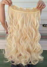 """Light blonde 5 clips one piece wavy curly 22"""" long clip in on hair extension"""