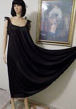 LUCIE ANN BEVERLY HILLS VTG Nylon Antron NWT BLACK Nightgown size L large