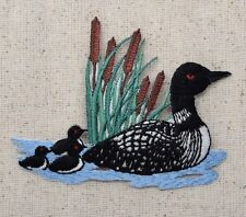 Iron On Embroidered Applique Patch - Divers Loon with Cattails and Chicks Birds