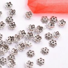 100Pcs Tibetan Silver Metal Flower Loose Spacer Beads Caps Lots 6MM DB3012