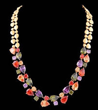 14k Yellow Gold GF Necklace made w/ Authentic Swarovski Crystal Multicolor Stone