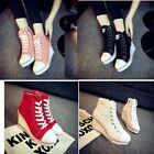 Fashion Women Shoes Canvas High Top Wedge Heel Lace Up Fashion Sneakers