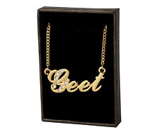 "Name Necklace ""GEET"" - 18ct Gold Plated - Swarovski Element - Custom Diwali Gift"