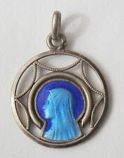 GORGEOUS OLD BLUE ENAMEL RELIGIOUS MEDAL VIRGIN MARY
