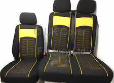 VW TRANSPORTER T5 VAN SEAT COVER YELLOW STITCH CLOTH P40Y
