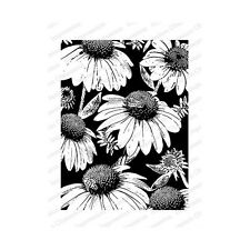 Impression Obsession Foam Mount Rubber Cling Stamp Coneflowers and Bees
