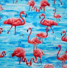 BonEful FABRIC FQ Cotton Quilt Aqua Blue Water PINK FLAMINGO Bird Florida Beach