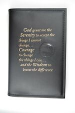 AA  Big Book Cover Alcoholics Anonymous Serenity Prayer Medallion Holder BLACK