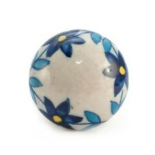 1x Autumn Blue Flower Ceramic drawer cupboard cabinet door pull handle knob