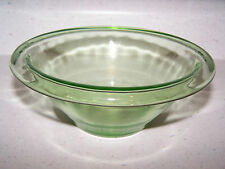 HOCKING USA GREEN TRANSPARENT DEPRESSION GLASS 6 3/4 INCH SIGNED MIXING BOWL