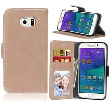 Retro Frosted Leather Wallet Stand Card Slot PU Leather Case For Samsung Galaxy