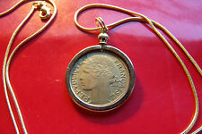 "Pre 1940  FRANCE ART DECO Lady Liberty Franc Coin Pendant 24"" Gold Filled Chain"