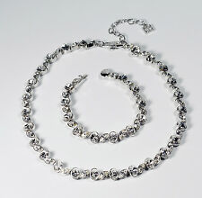 Multi Shaped Clear Rhinestone Silver Tone Demi Parure Necklace & Bracelet