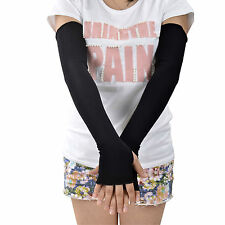 Women Long Fingerless Arm Sun Protection Covers Golf Driving Cover Gloves