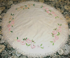 ROUND VINTAGE LOVELY SHABBY HOLLYWOOD REGENCY CHIC TABLECLOTH