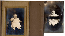 2 vintage images cute babies sitting in chairs tied in, one rppc & one in folder