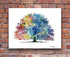 Oak Tree Abstract Watercolor Art Print by Artist DJ Rogers