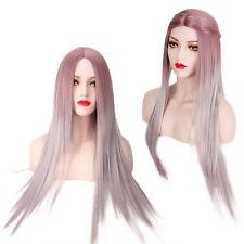 80cm Red Mix Gris Cosplay Perruque Longue Droite Raide Deguisement Femme Wig