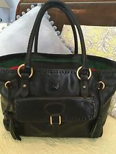 Dooney & Bourke Florentine Leather Convertible Tassel Bag~Black~HUGE BAG!