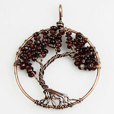 Natural Garnet Chip Beads Bent Tree of Life Copper Round Pendant Fit Necklace