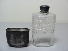NICE VICTORIAN PERIOD CUT GLASS LADIES SPIRIT FLASK with METAL CUP