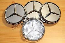 4 x Chrome Centre Caps 75mm to fit Mercedes Class A B C E ML SLK S R Emblem