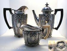 Austro Hungarian Art Nouveau SILVER Tea Coffee Pot Water Milk Cream Jug Creamer