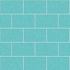 Kitchen and Bathroom Aqua Glitter Tile Wallpaper London Brick Tiling M1122