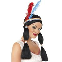Womens Indian Princess Wig Long Bunches Feathers Headband Fancy Dress Pocahontas
