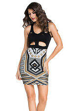 Black Geometric V Neck Cutout Stretch Mini Dress Party Club 21810 Medium