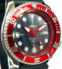 Vintage SEIKO 7S26 diver SKX mod w/all RED Hands & Bezel on Mother of Pearl dial